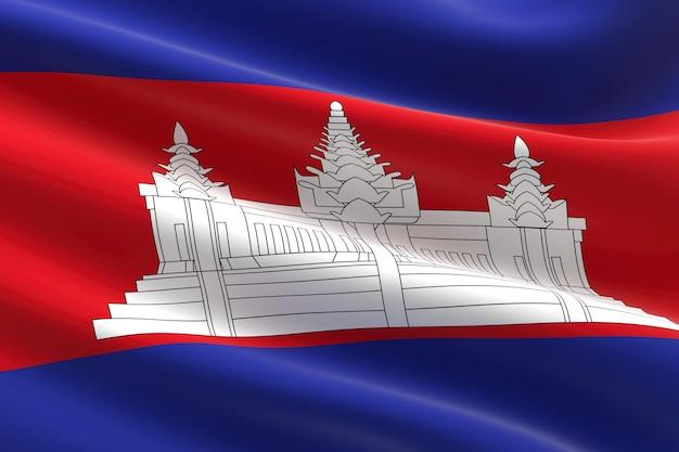Bandeira do camboja. ilustração 3d da bandeira do camboja acenando.