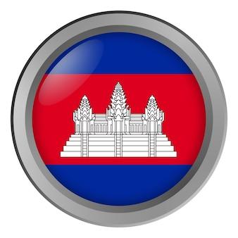 Bandeira do camboja redonda como um botão