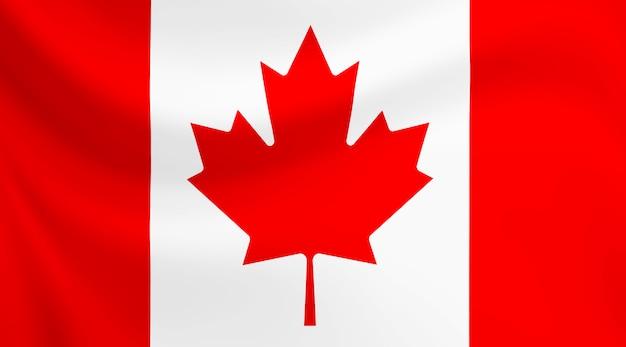 Bandeira do canadá acenando em tecido de textura.