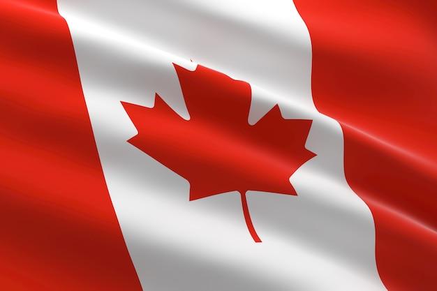 Bandeira do canadá. ilustração 3d da bandeira canadense acenando