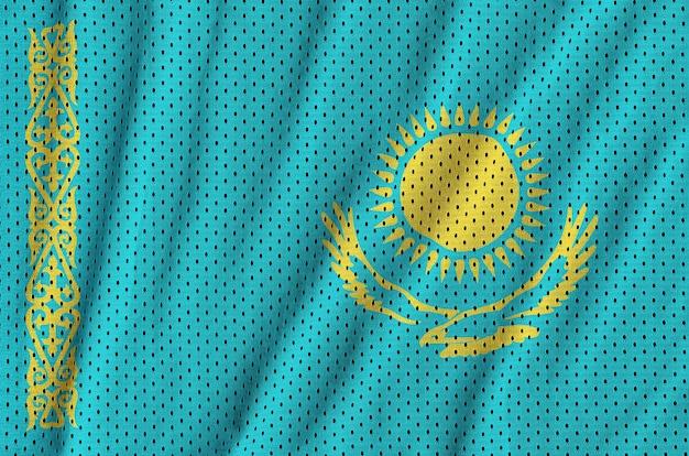 Bandeira do cazaquistão impressa em um tecido de malha de nylon sportswear de poliéster
