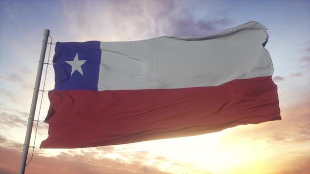 Bandeira do chile balançando ao vento, o céu e o sol de fundo. renderização 3d.