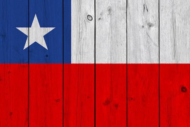 Bandeira do chile pintada na prancha de madeira velha