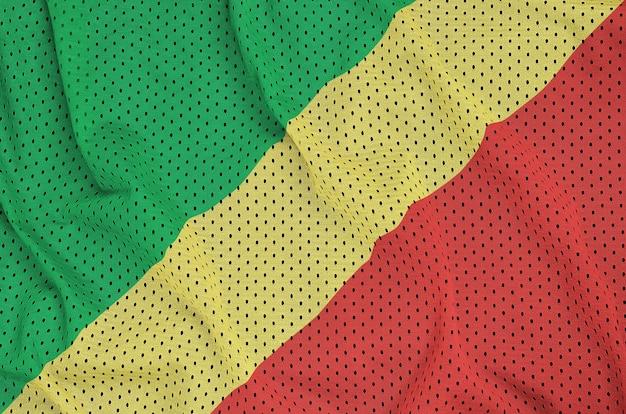 Bandeira do congo impressa em um tecido de malha de nylon para sportswear de poliéster
