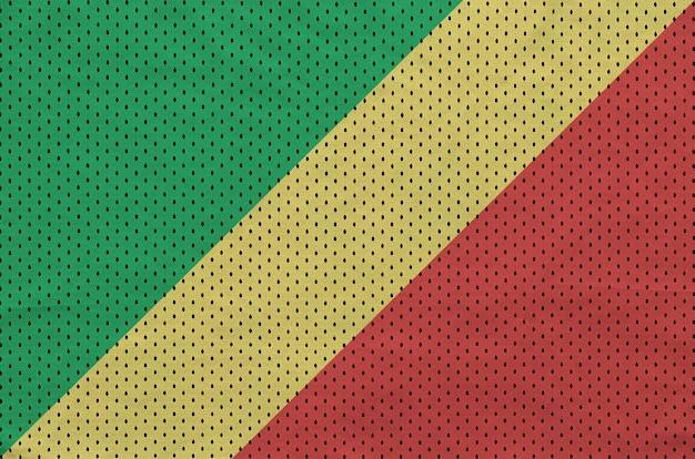 Bandeira do congo impressa em um tecido de malha de nylon sportswear de poliéster