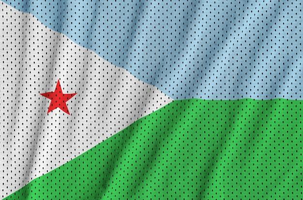 Bandeira do djibouti impressa em um tecido de malha de poliéster de sportswear