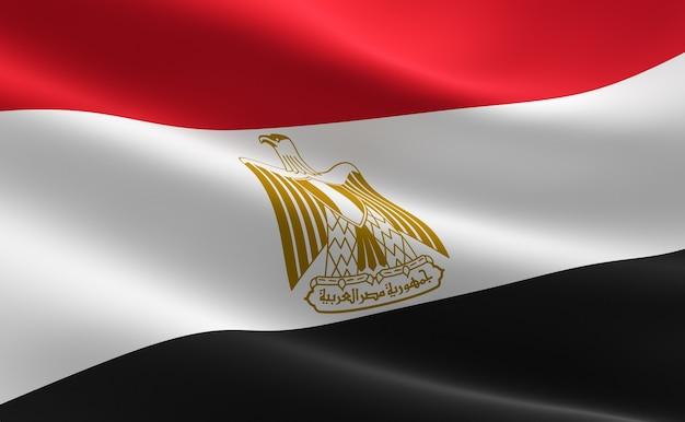 Bandeira do egito. ilustração da bandeira egípcia que acena.