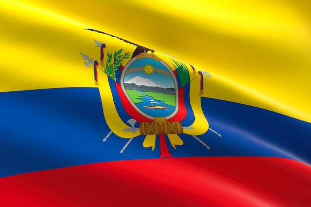 Bandeira do equador. ilustração 3d da bandeira equatoriana acenando