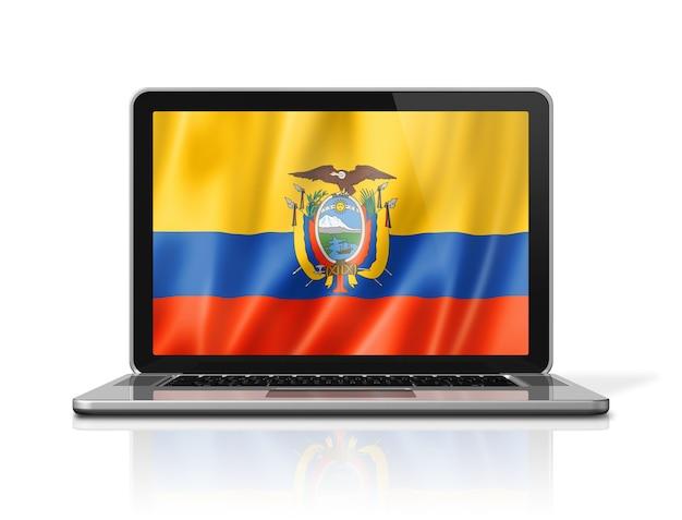 Bandeira do equador na tela do laptop isolada no branco. ilustração 3d render.