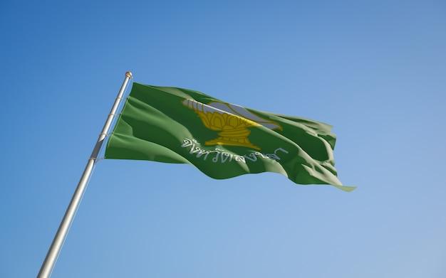 Bandeira do estado da província de songkhla tailândia. arte 3d