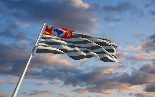 Bandeira do estado de são paulo brasil. arte 3d