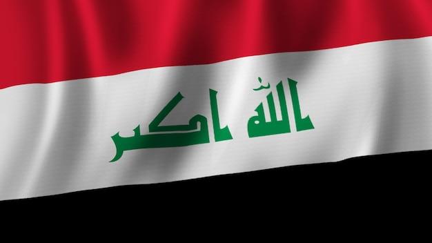 Bandeira do iraque acenando em close-up renderização em 3d com imagem de alta qualidade com textura de tecido