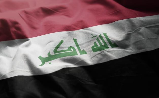 Bandeira do iraque amarrotada close up