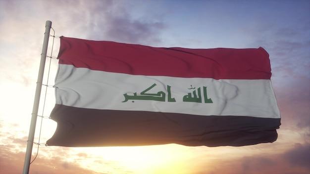 Bandeira do iraque balançando ao vento, o céu e o sol de fundo. renderização 3d