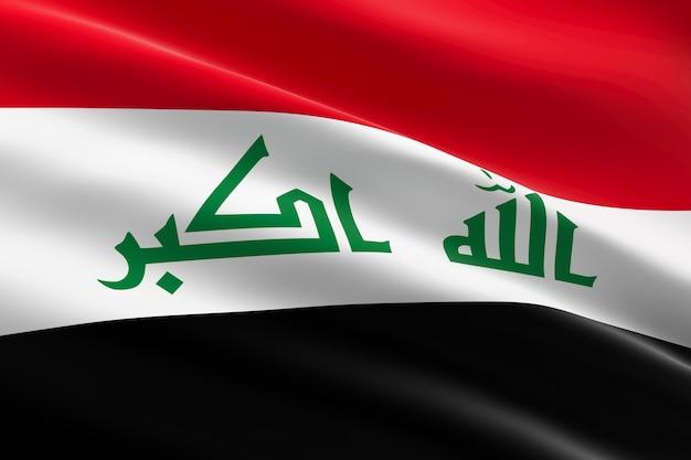 Bandeira do iraque. ilustração 3d da bandeira do iraque acenando