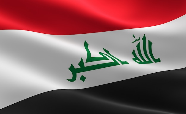 Bandeira do iraque. ilustração 3d da bandeira iraquiana que acena.