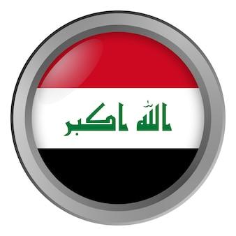 Bandeira do iraque rodada como um botão