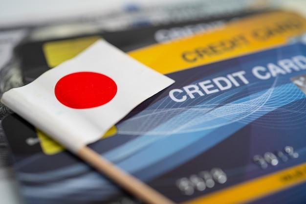 Bandeira do japão no cartão de crédito desenvolvimento financeiro análise de investimentos de contas bancárias