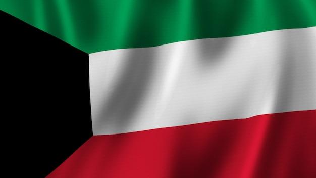 Bandeira do kuwait acenando renderização 3d em close-up com imagem de alta qualidade com textura de tecido