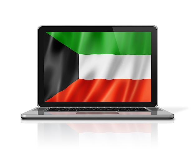 Bandeira do kuwait na tela do laptop isolada no branco. ilustração 3d render.