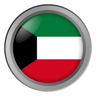 Bandeira do kuwait rodada como um botão