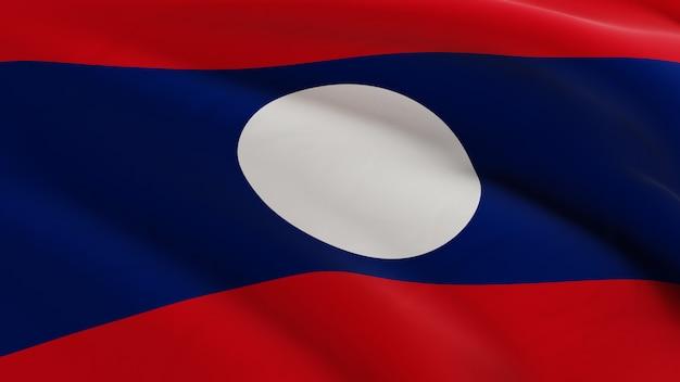 Bandeira do laos balançando ao vento, micro textura de tecido em renderização 3d de qualidade