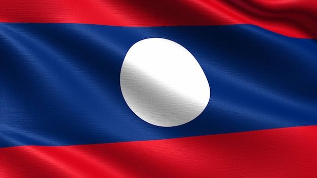 Bandeira do laos, com textura de tecido a acenar