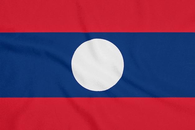Bandeira do laos em tecido texturizado, símbolo patriótico