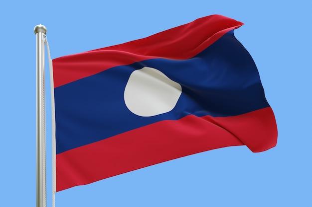 Bandeira do laos no mastro da bandeira balançando ao vento isolado em fundo azul