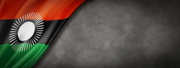 Bandeira do malaui em banner de parede de concreto