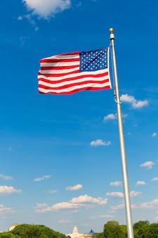 Bandeira do monumento de washington e capitólio em dc eua
