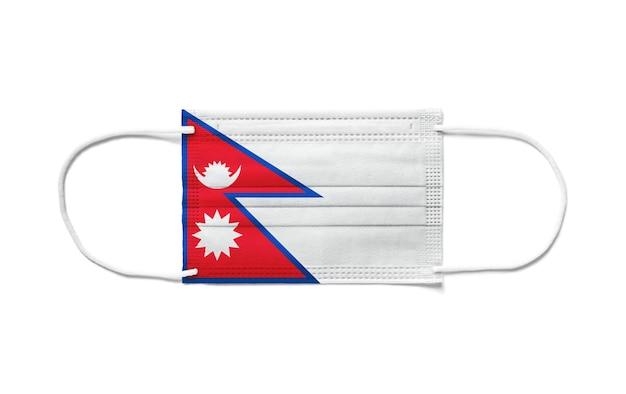 Bandeira do nepal com máscara cirúrgica descartável