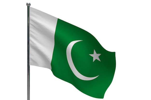 Bandeira do paquistão na pole. mastro de metal. ilustração 3d da bandeira nacional do paquistão em branco