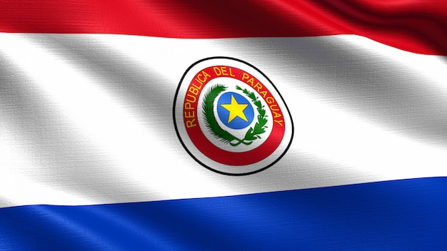 Bandeira do paraguai, com textura de tecido a acenar