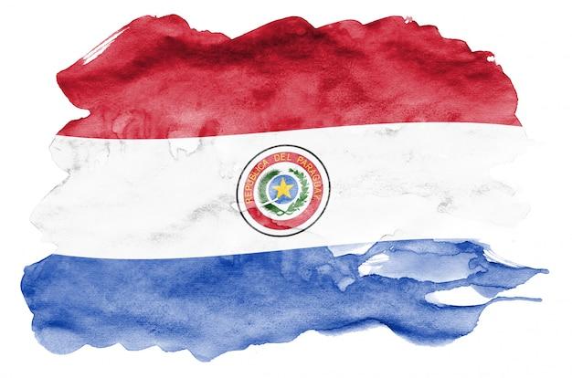 Bandeira do paraguai é retratada em estilo aquarela líquido isolado no branco