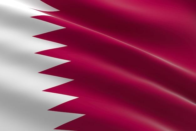 Bandeira do qatar. ilustração 3d da bandeira do catar acenando