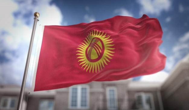 Bandeira do quirguistão 3d rendering no fundo do edifício do céu azul