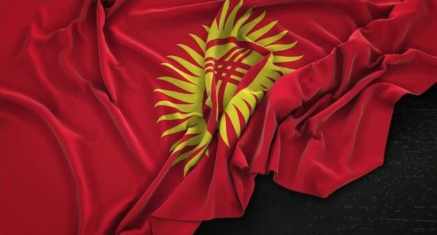 Bandeira do quirguistão enrugada no fundo escuro 3d render