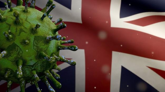 Bandeira do reino unido acenando e o conceito de coronavirus 2019 ncov. surto asiático na grã-bretanha, coronavírus influenza tanto casos perigosos de gripe quanto uma pandemia. vírus do microscópio covid19 close-up.