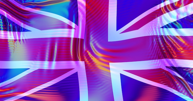 Bandeira do reino unido grã-bretanha com reflexos do arco-íris lgbt.