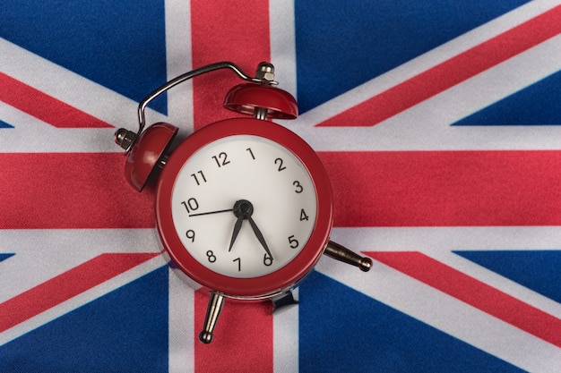 Bandeira do reino unido relógio vintage fechar. bandeira nacional do reino unido. grã bretanha.