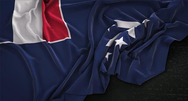 Bandeira do sul do país enrugada no fundo escuro 3d render