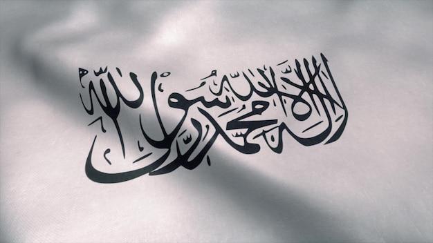 Bandeira do talibã balançando ao vento.