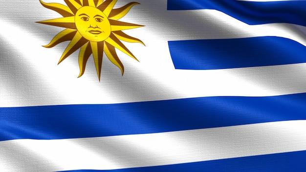 Bandeira do uruguai, com textura de tecido a acenar