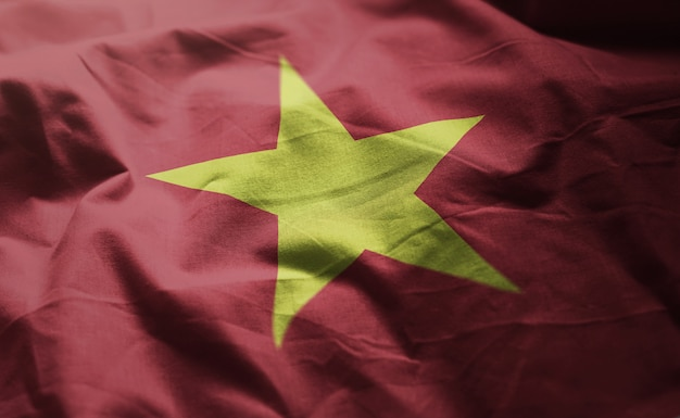 Bandeira do vietnã amarrotada close up