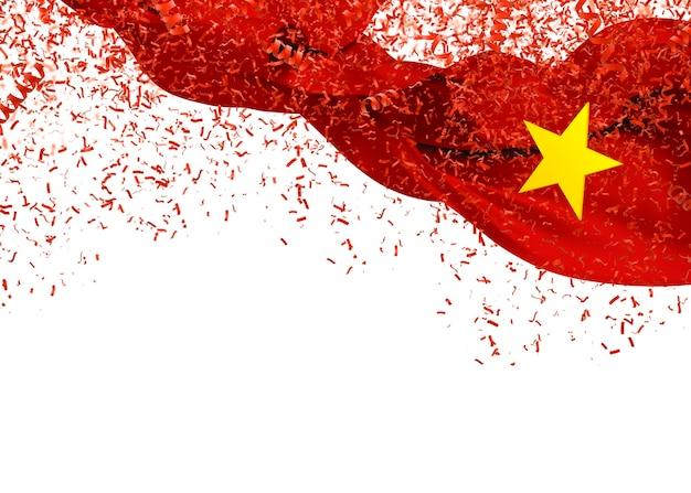 Bandeira do vietnã com confetes caindo sobre fundo branco para o dia da independência. ilustração 3d