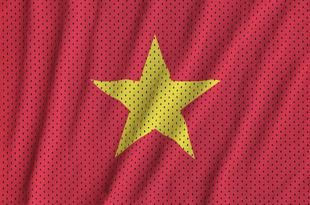 Bandeira do vietnã impressa em um tecido de malha de nylon sportswear de poliéster