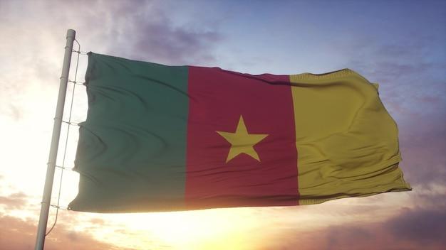Bandeira dos camarões balançando ao vento, o céu e o sol de fundo. renderização 3d.