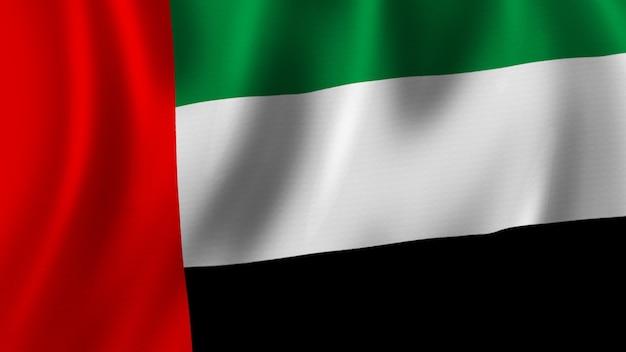 Bandeira dos emirados árabes unidos acenando renderização 3d em close-up com imagem de alta qualidade com textura de tecido