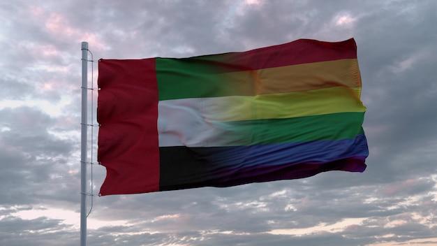Bandeira dos emirados árabes unidos e bandeira lgbt do arco-íris